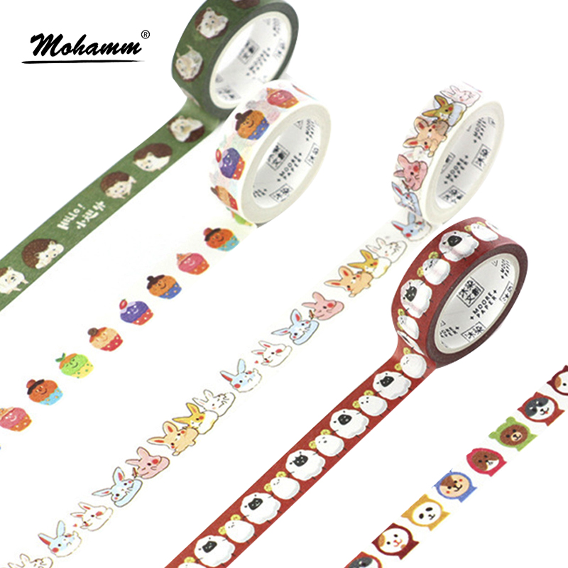 Creative Cute Animals Foods Japanese Decorative Adhesive Washi Tape Diy Scrapbooking Masking Paper Tape School Office Supply cute creative snowflakes lemon leaves japanese masking washi tape decorative adhesive tape diy scrapbooking school office supply