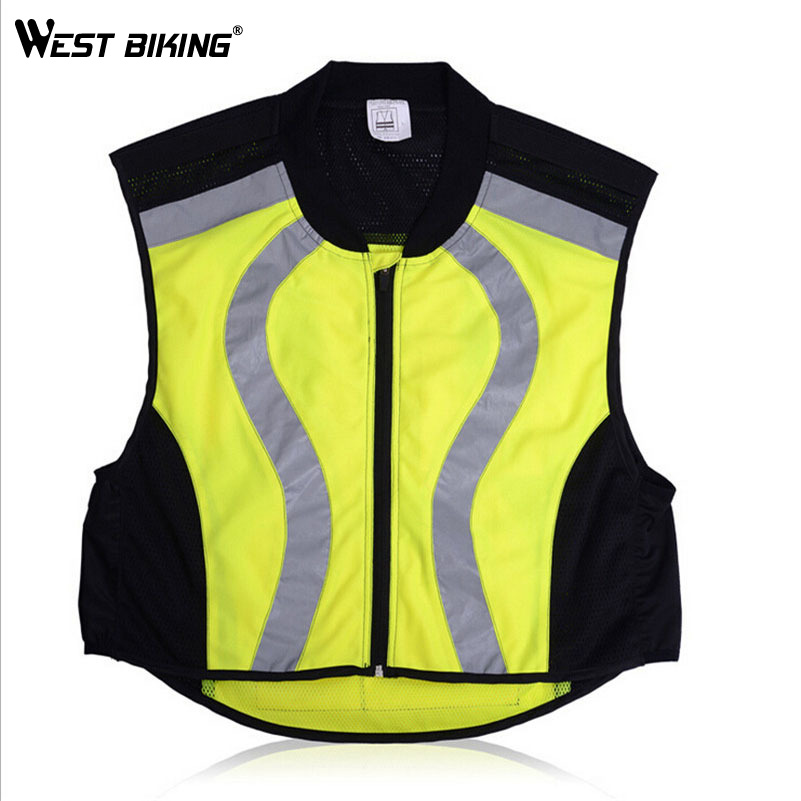 ФОТО WEST BIKING Breathable Reflective Cycling Vest Protecetive Jersey Safety Warning Clothing Bicycle Jersey Mountain Bike Vest