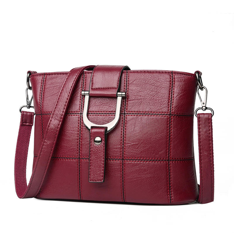 Women Quality Leather Plaid Pattern Handbag