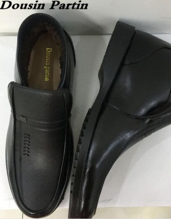 Ayakk.'ten Basic Çizmeler'de Dousin Partin Kürk Botları Kaliteli Deri Yüksek Top Erkek ayakkabı daireler üzerinde kayma erkek ayakkabısı daireler N6547841'da  Grup 1