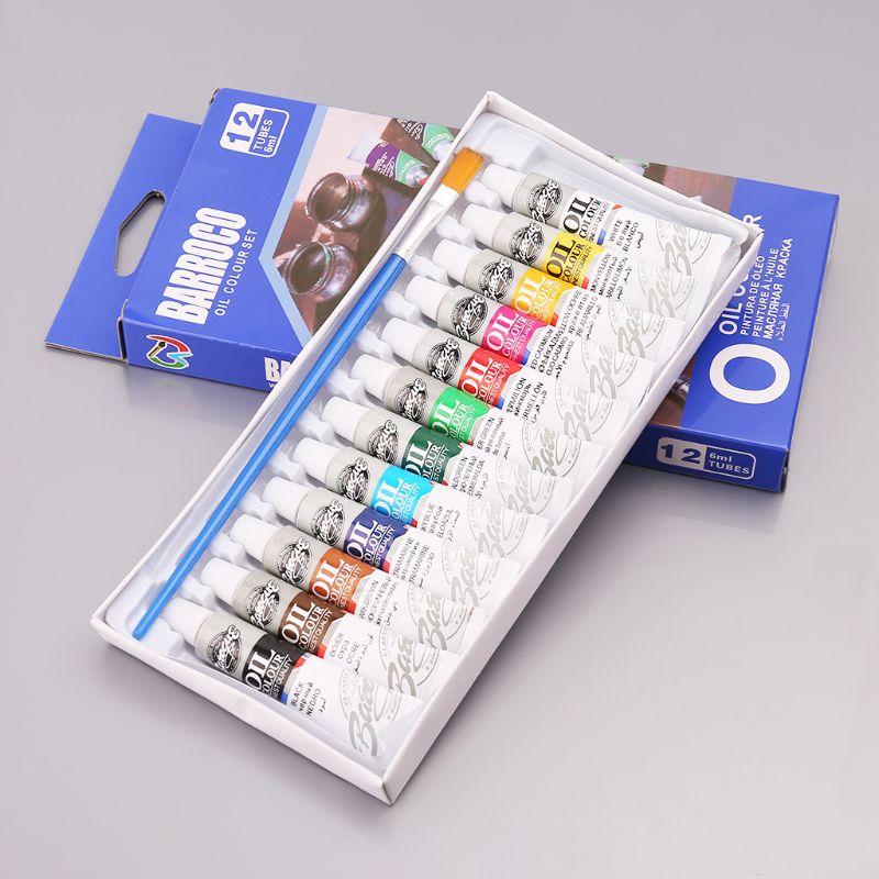 12 цветов акриловая краска для рисования пигмент масляная краска ing 6 мл трубка с набором кистей принадлежности художника