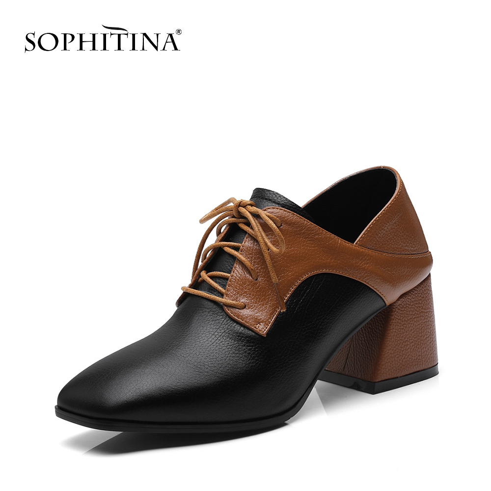 SOPHITINA Brand Genuine Leather Women Pumps New Spring Elegant Square High Heel Lady Shoes Fashion Cross