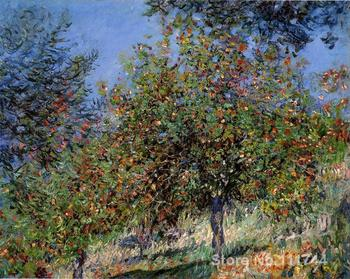 paintings for living room Apple Trees on the Chantemesle Hill by Claude Monet Home art High quality Hand painted