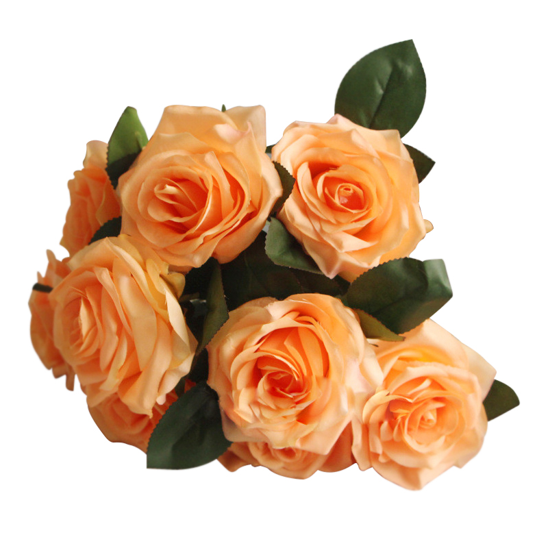 9 heads  decorative bouquet of artificial silk rose flower for wedding decoration champagne