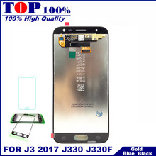 J330 LCD For Samsung Galaxy J3 2017 J330 J330F Phone LCD Display Touch Screen Digitizer Assembly With Brightness Control for J33(China)