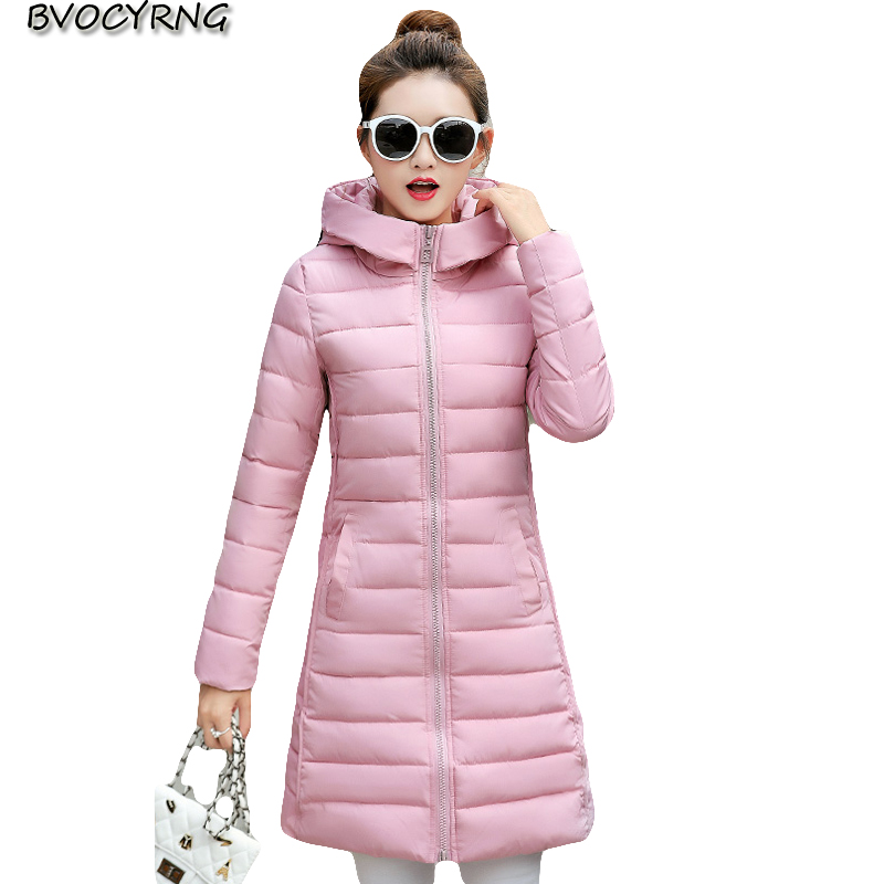 Winter Now2017 Medium Long Big Yards Women Coat High-end Eiderdown Cotton Coat Fashion Hooded Zipper Contracted Slim Parka Q697 2017new winter fashion elegant women coat hooded big yards medium long high end jacket eiderdown cotton slim warm coat q457