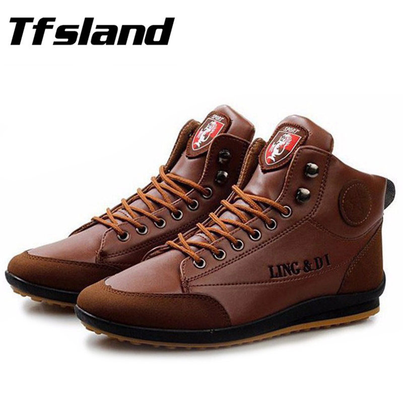 Tfsland Mannen Soft Splicing Easy-Match PU Lederen Wandelschoenen Heren Sneakers Mannelijke Herfst Winter Warme Laarzen Plus Size 39-44 Size