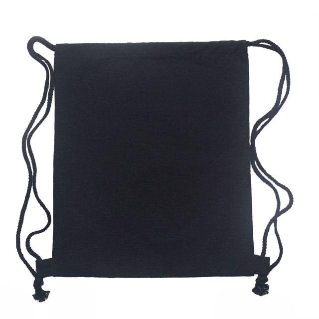 10pcs Lot Blank Canvas Drawstring Bag White Black 12oz Draw String Backpack Diy Cinch