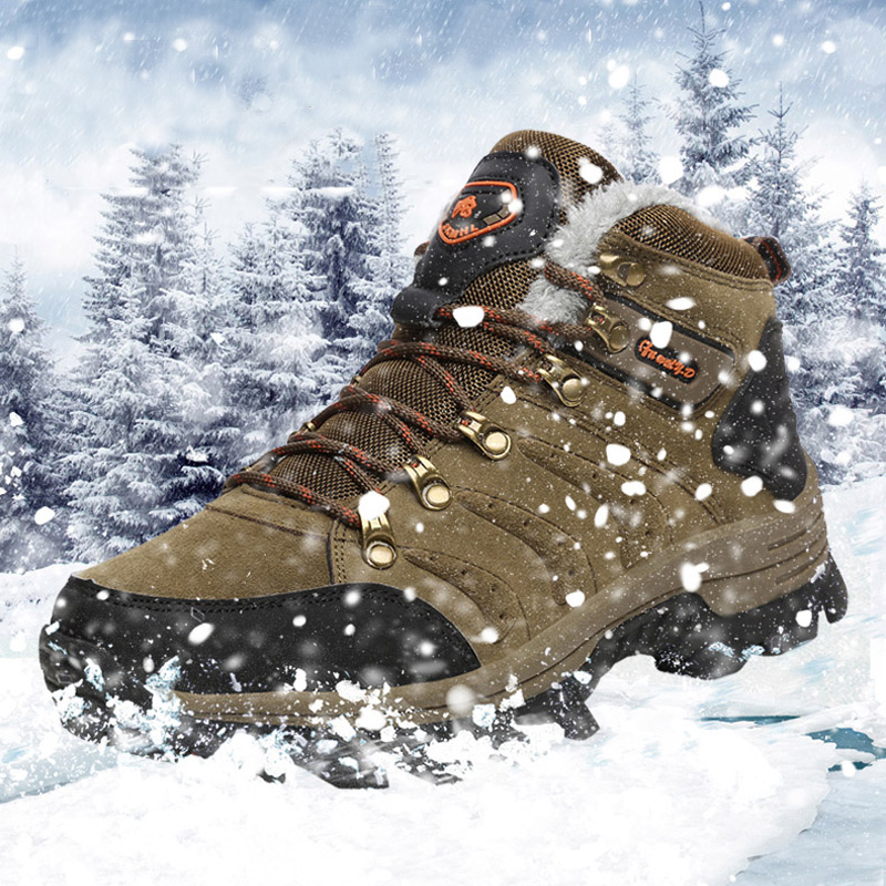 BeiWeiTe Winter Mens Fur Lined Hiking Boots High Top Warm Antiskid Trail Trekking Shoes For Men Wearable Walking Tourism Shoes