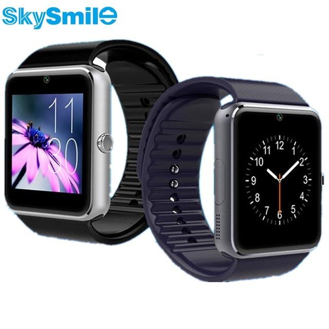 Skysmile smart watch gt08 notificador de sincronização do relógio smartwatch bluetooth conectividade android suporte do telefone para a apple iphone 6 sim tf