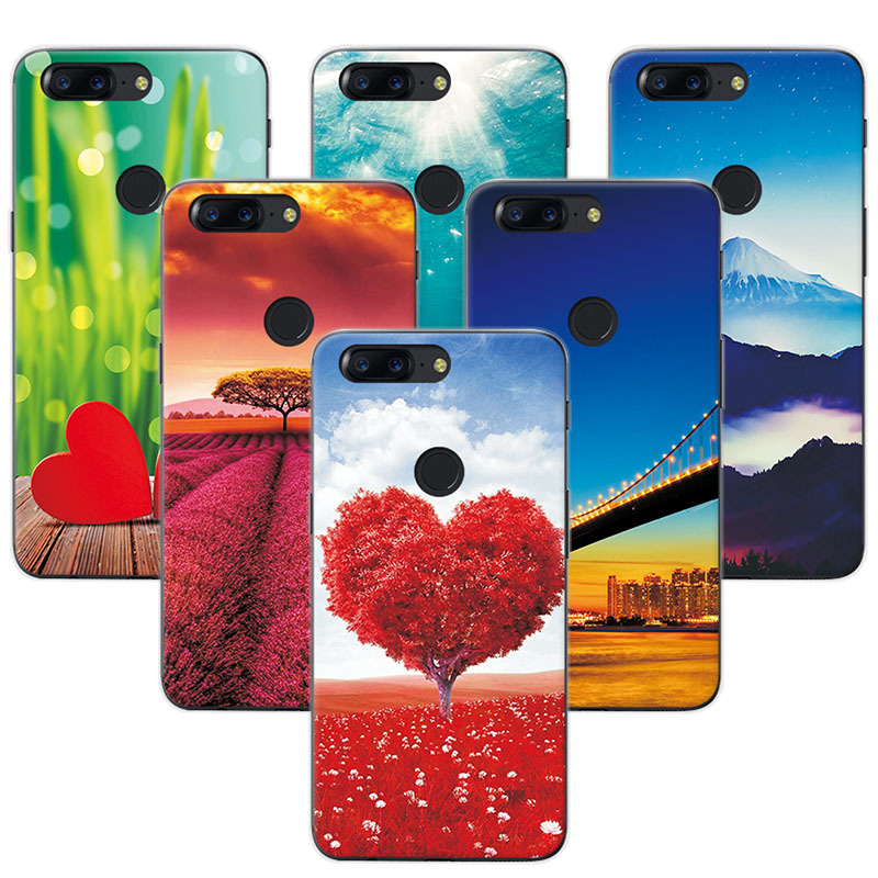YOUVEI Case Cover For OnePlus 5T 5.5 Scenery Rose Painted Soft TPU Phone Cases Coque For One Plus 5T Funda OnePlus 5 T Capa