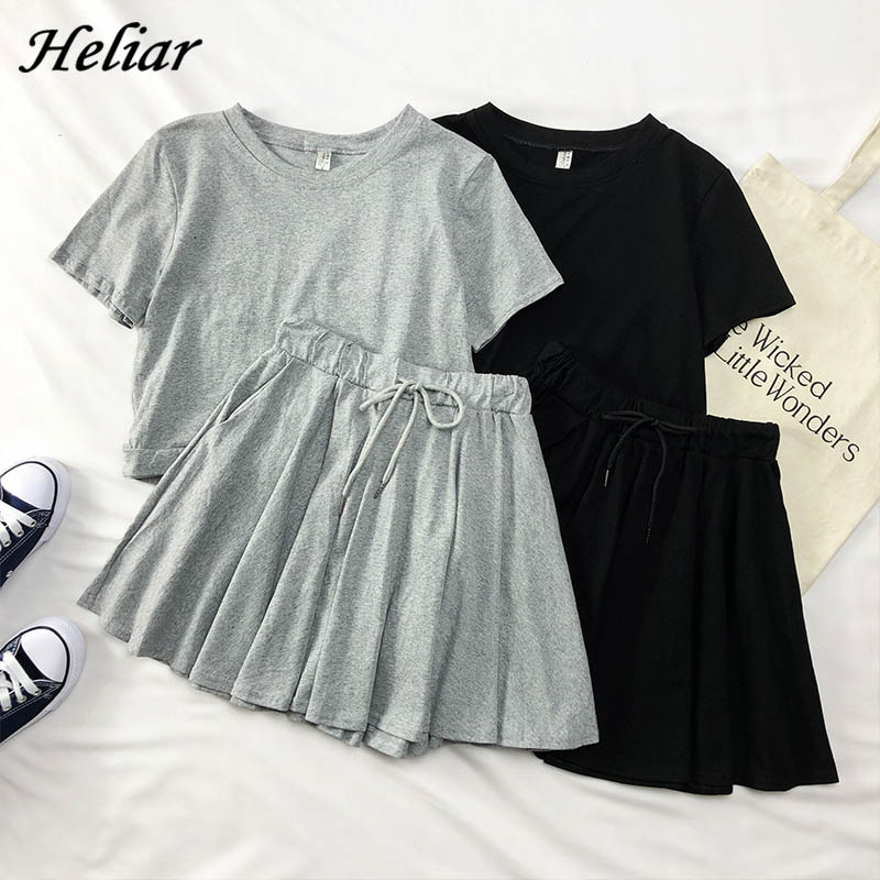 Heliar O-Neck Cotton T-Shirt And Elastic Skirts Women Streetwear Casual Harajuk Style Suits Female Two Pcs Outfits 2019 Summer