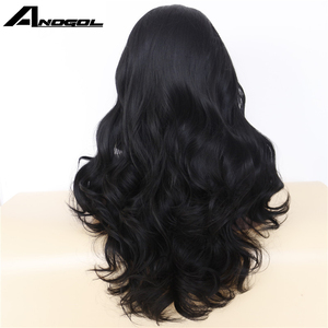 Image 3 - Anogol High Temperature Fiber Hair Natural Hairline Glueless Long Body Wave 1B Black Synthetic Lace Front Wig with Middle Part