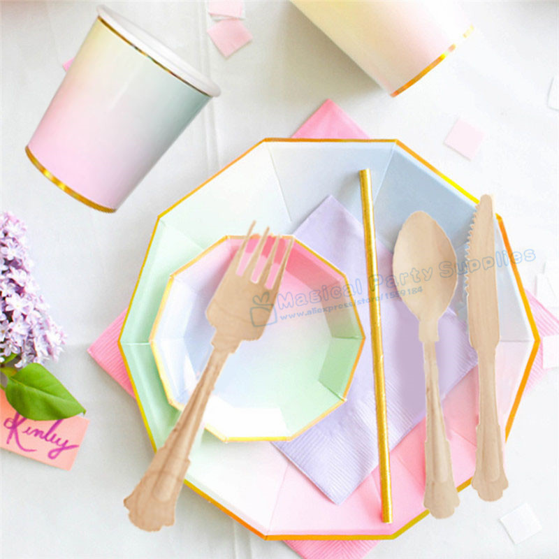 16 Sets Pastel Ombre Foil Gold Party Canape Plate Dessert Dishes Paper Cups Napkin Straws