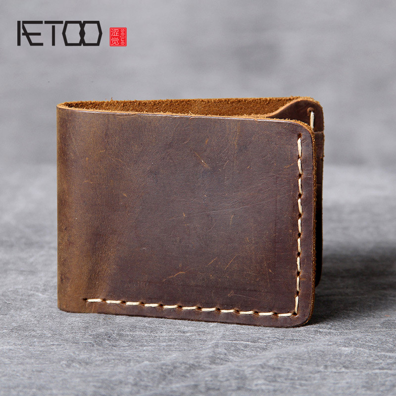 AETOO Retro Pure Handmade Leather Short Wallet Man Simple Head Layer Cowhide Wallet