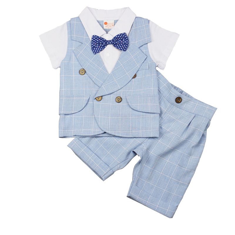 Summer 2017 Baby Boy Clothes Gentry Style Short Sleeve T-shirt Tops + Short Pant 2PCS Toddler Kids Clothing Set Newborn Gift newborn toddler girls summer t shirt skirt clothing set kids baby girl denim tops shirt tutu skirts party 3pcs outfits set