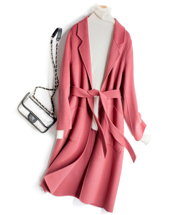 Ceinture champagne Printemps De Pur rouge rose Femmes noir Laine Avec Mode Automne caramel Beige Pardessus 2019 vert Sqazx5wa