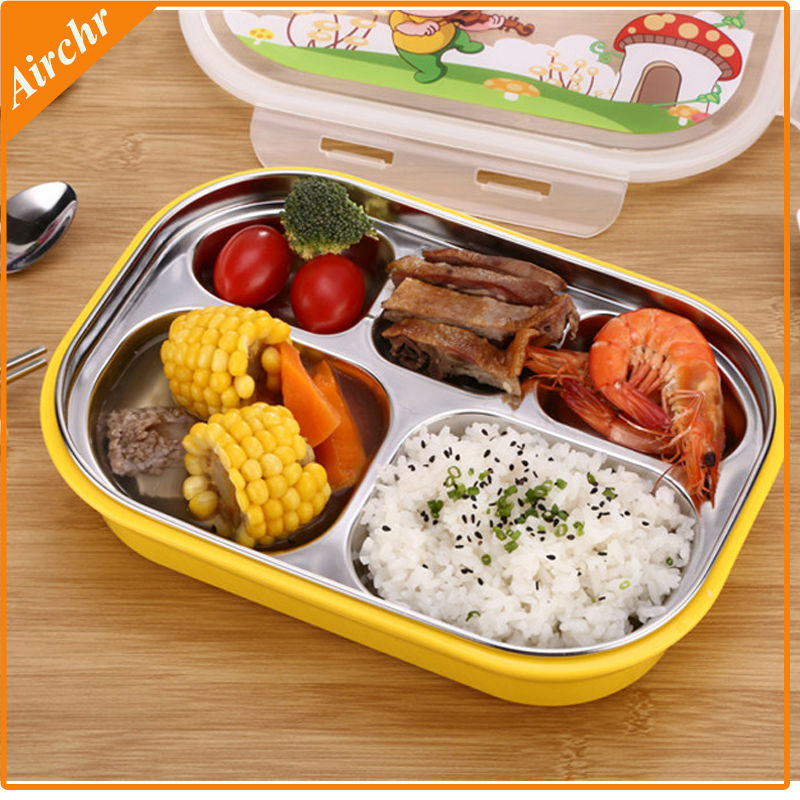 High Quality Bento Lunch Box 304 Stainless Steel Lunchbox Kids Dinnerware Set Cute Free Shipping In Sets From Home Garden On