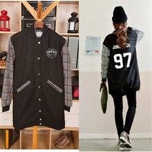 Поп Bangtan мальчиков BTS JUNGKOOK bulletproof одежда длинное пальто должны носить Бейсбол осенью. r. м. Y бейсбольная Толстовка Экзо Куртка