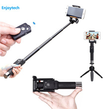 High Quality Bluetooth Selfie Stick With Mini Tripod 16.5-69.5CM Extendable Monopod  For Huawei Samsung Iphone 6 6s 7 Smartphone
