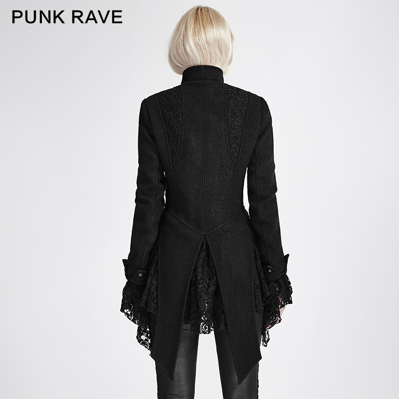 Long Steampunk Rave Hiver Laine Dentelle Punk Manches Femmes Pardessus Femme Manteau Vintage Gothique qTXn6