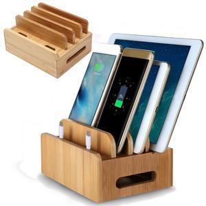 Image 3 - Soporte organizador de cables multidispositivo, estación de carga de bambú, multifunción, para teléfono móvil, iPhone, tableta