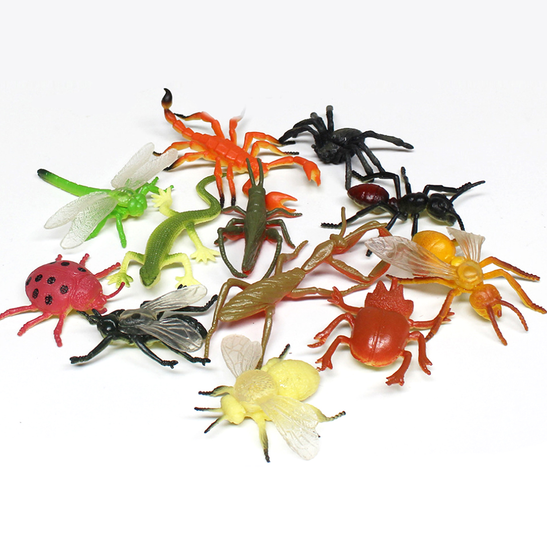 12pcs Plastic Simulation Bee Dragonfly Spider Toys Insect Ladybird Locust Lizard Models Figures Figurines Set Educational Toys