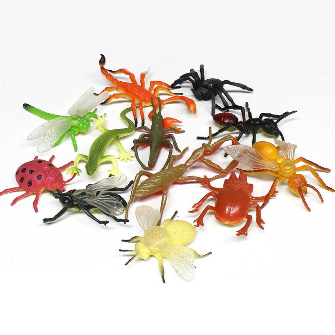 12 pcs plástico Simulação brinquedos Aranha lagarto Gafanhoto Inseto Joaninha Abelha Libélula modelos figures set brinquedos Educativos