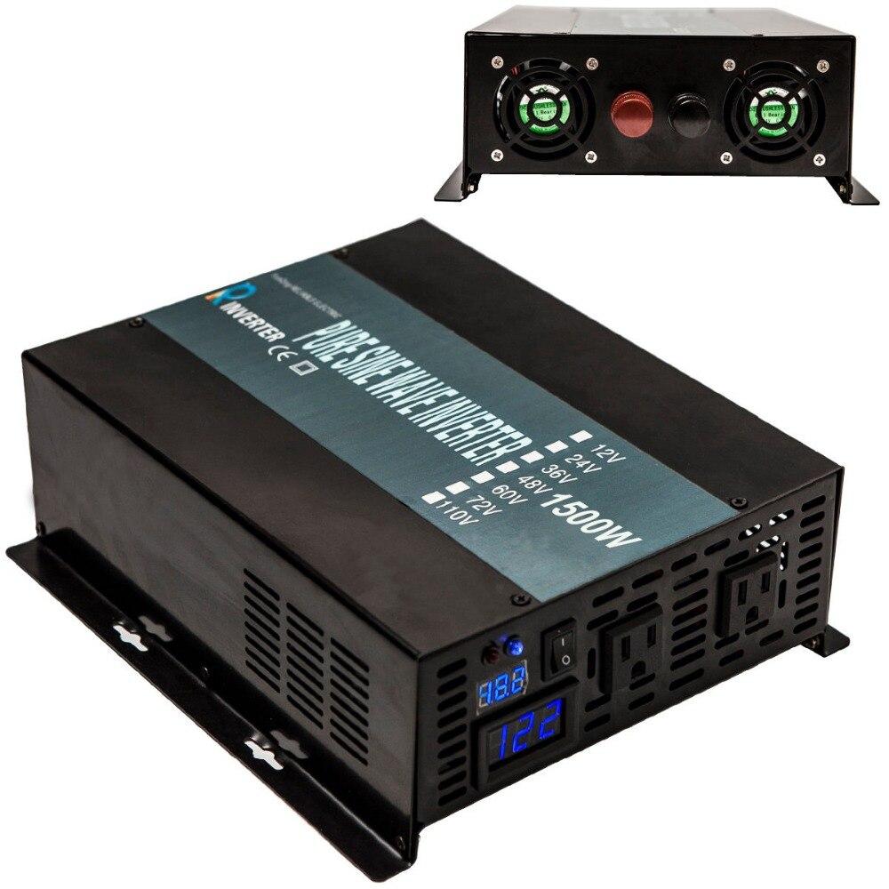 цена на 1500 Watts Off Grid Solar Power Inverter 12 220 Pure Sine Wave Inverter Converter Power Bank 12V 24V 48V DC to 120V 220V 240V AC