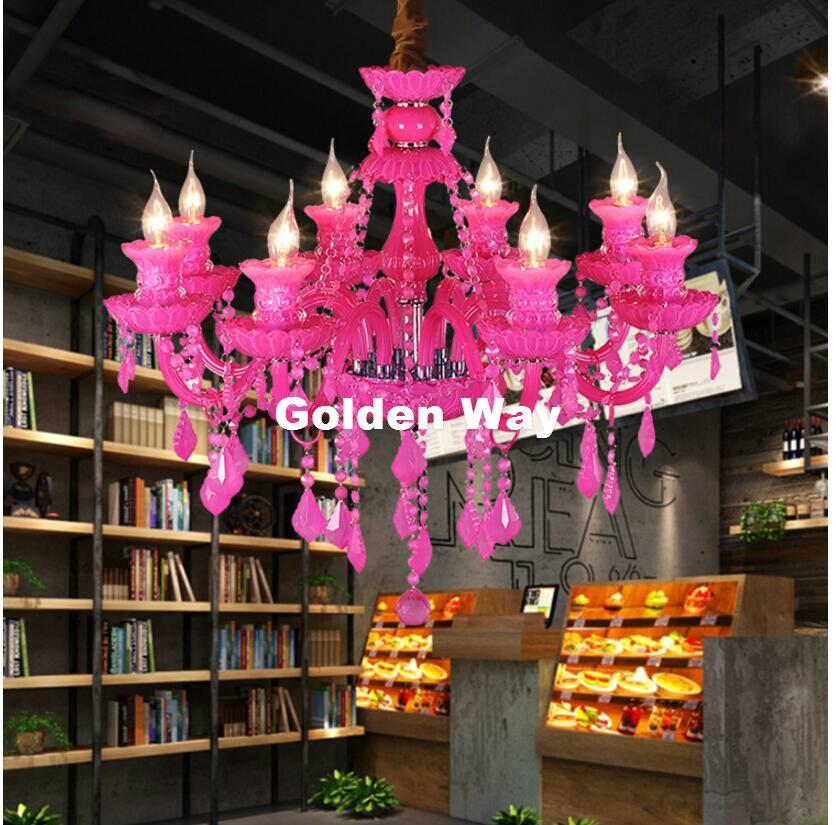 K9 lustre en Cristal Lustres De Cristal lustre E14 bougie rose couleur Lustres Cristal lustre luminaire inclus ampoule