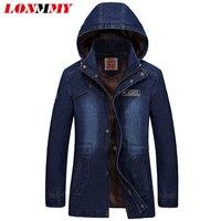 LONMMY M-3XL Jeans jacket men Bluzy Denim jacket men Bawełna Military style Długie Armia Marka-odzież 2017 Męskie płaszcze z kapturem