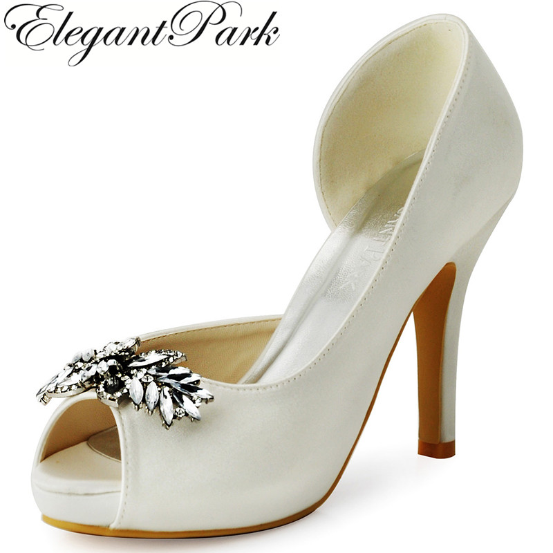 New Women Shoes HP1550I Peep Toe Women Pumps Rhinestones High heel Platform Bridal Shoes Satin Bride Lady Wedding Shoes купить