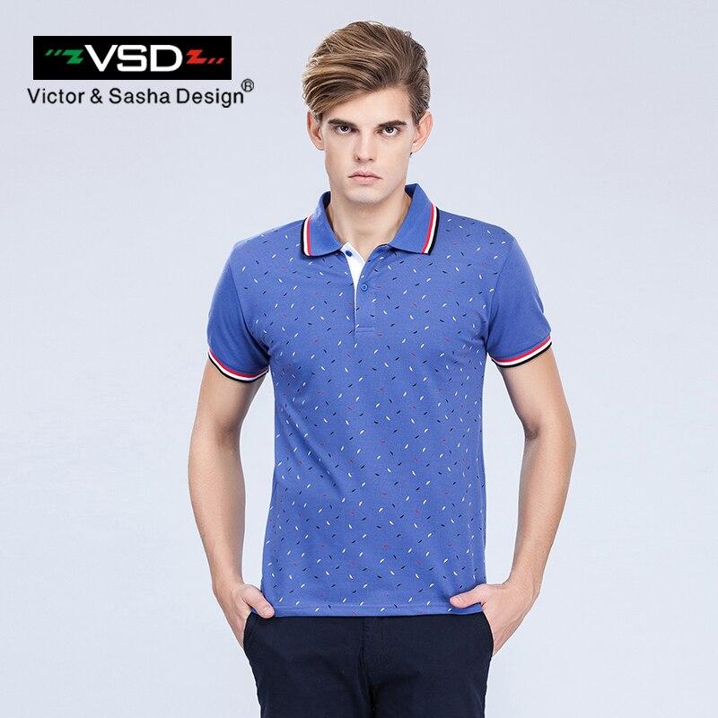 Victor&Sasha Design 2017 Summer Casual Print Slim Fit Cotton   Polos   Shirts Men Short Sleeve Italian Famous Brand Men's Homme Y601