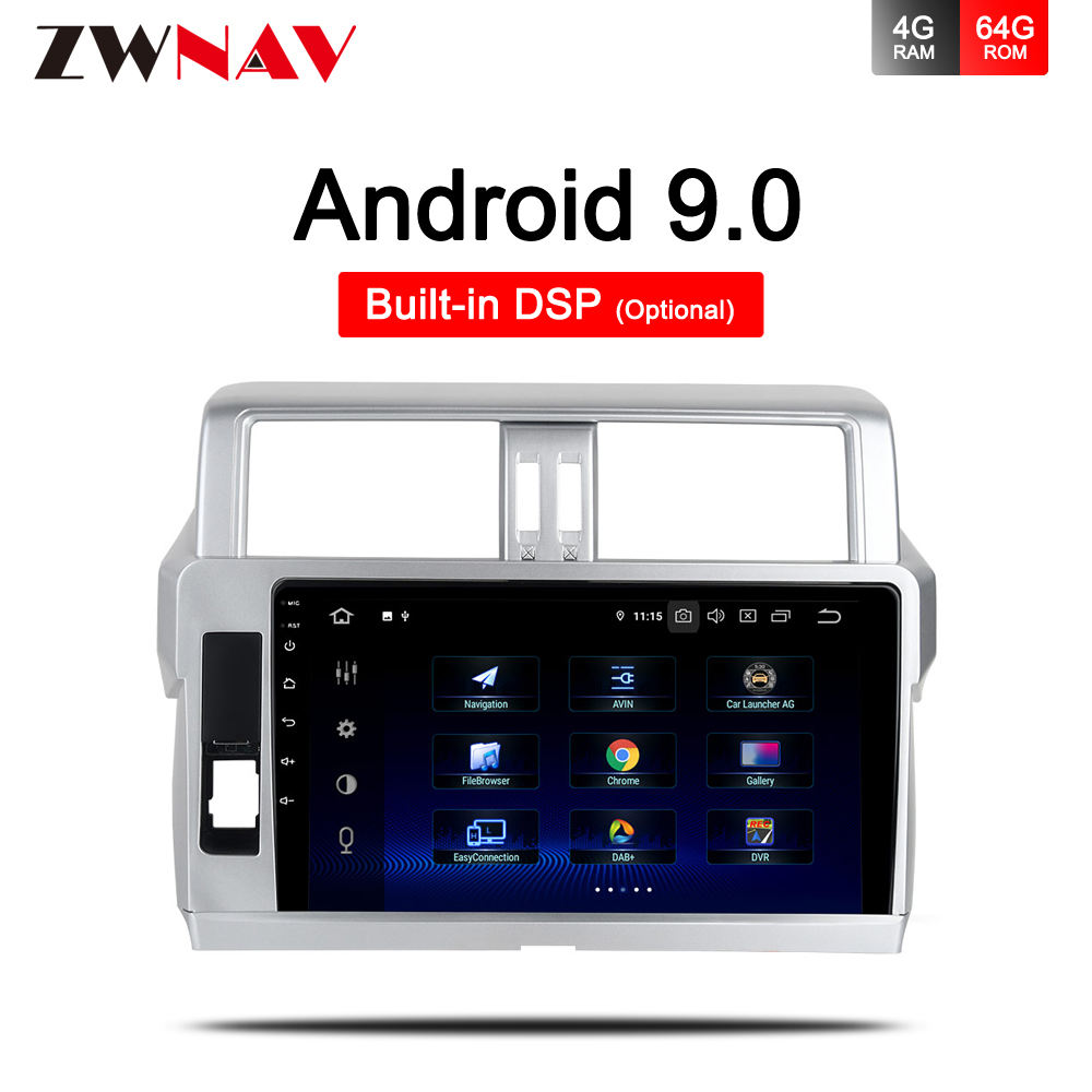 PX6 4G+64G Android 9.0 <font><b>CAR</b></font> DVD player <font><b>For</b></font> <font><b>Toyota</b></font> <font><b>Prado</b></font> <font><b>150</b></font> <font><b>2010</b></font> 2011 2012 2013 <font><b>car</b></font> GPS navigation stereo <font><b>radio</b></font> BT Wifi head unit image