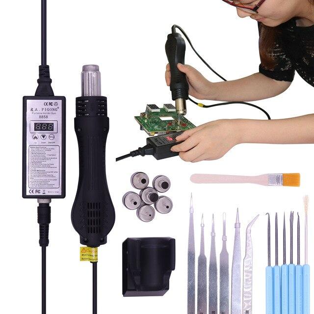Паяльная станция 8858, портативный паяльный инструмент горячим воздухом с корпусом BGA 220 В, насадки 6 шт.