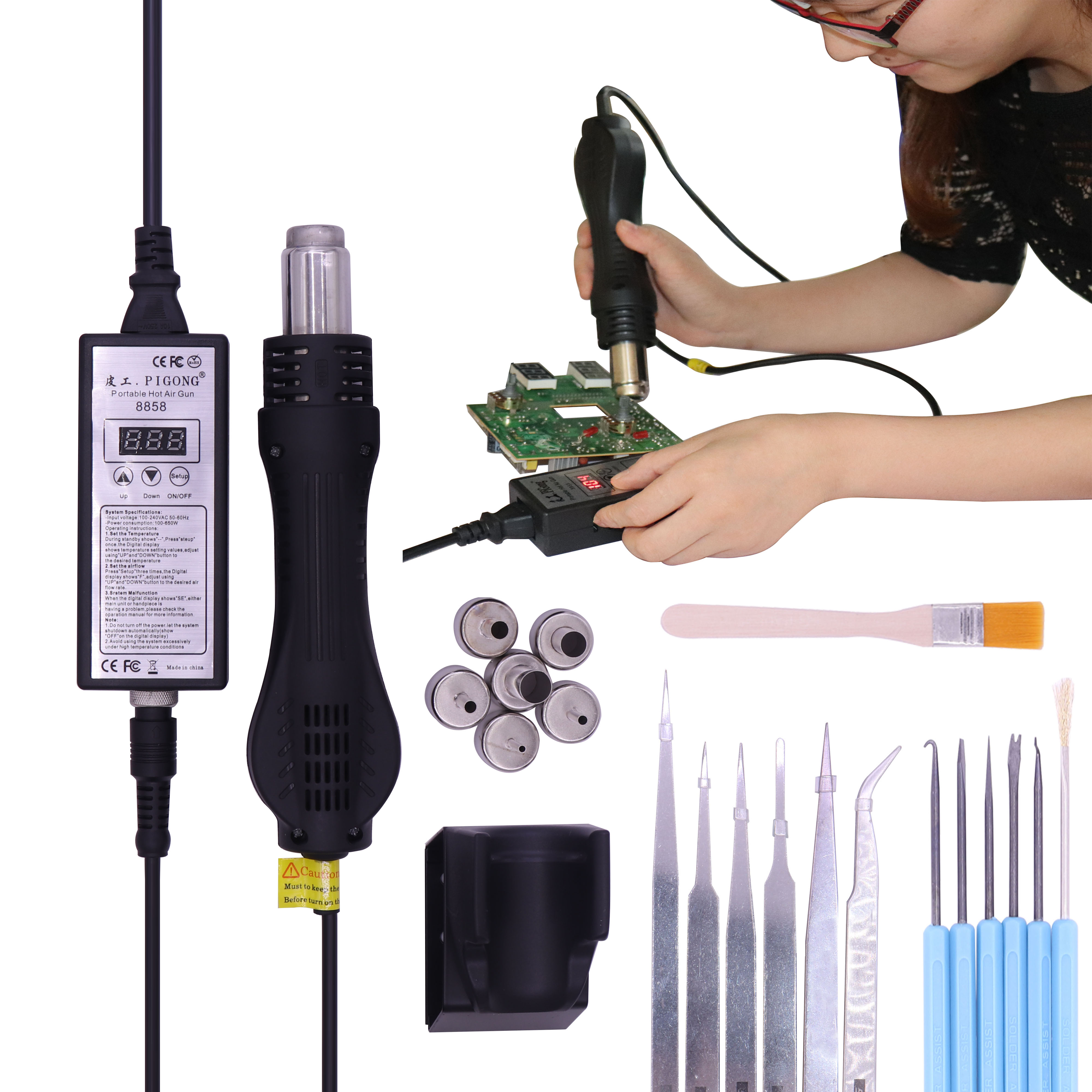High quality 220V Portable BGA Rework soldering station Hot Air Blower Heat Gun 8858 Better  Hand held hot air gun 6pcs nozzle-in Heat Guns from Tools on