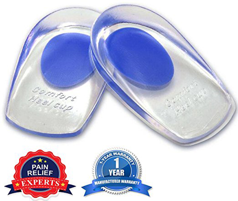 1 Pair Soft Silicone Increase Heel Support Pad <font><b>Cup</b></font> Gel Shock Cushion Orthotic Insole Plantar Care Half-height for men and women