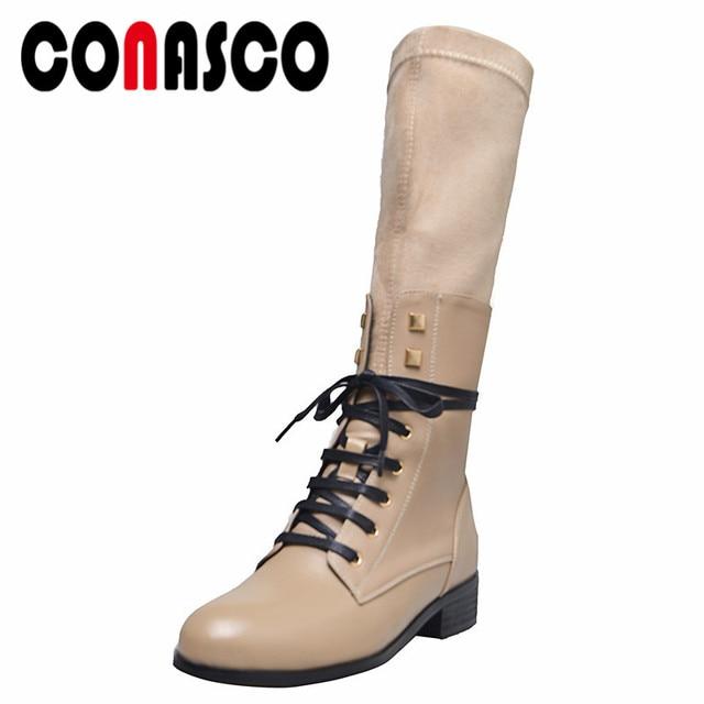 b74ebf18e04 Botas a la altura de la rodilla de las mujeres de la marca de la manera del  CONASCO dos remaches del estilo botas de la motocicleta de los tacones altos  de ...