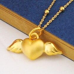 Gerçek 999 24 k Sarı Altın Kolye 3D Kadınlar Kalp Melek Sadece Kolye 34x20mm