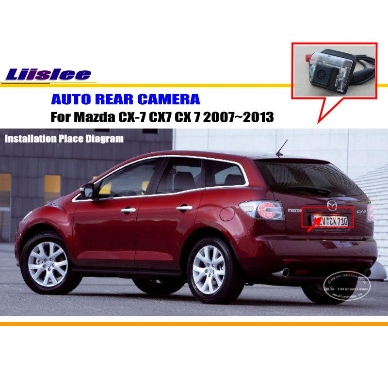 Liislee Car Parking Camera / Reverse Camera For Mazda CX-7 CX7 CX 7 2007~2013 / RearView Camera / License Plate Light Camera 12pcs canbus white led light bulbs interior package kit for 2007 2012 mazda cx 7 cx7 map dome trunk license plate lamp pink