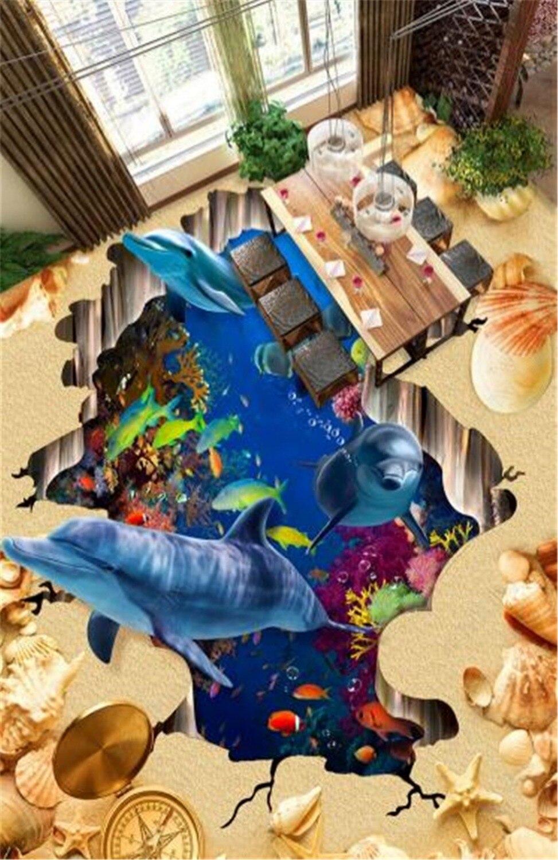 Custom Any Size 3D Mural Wallpaper Underwater World Beach Dolphin Fish 3D Floor Interior Wallpaper MuralCustom Any Size 3D Mural Wallpaper Underwater World Beach Dolphin Fish 3D Floor Interior Wallpaper Mural