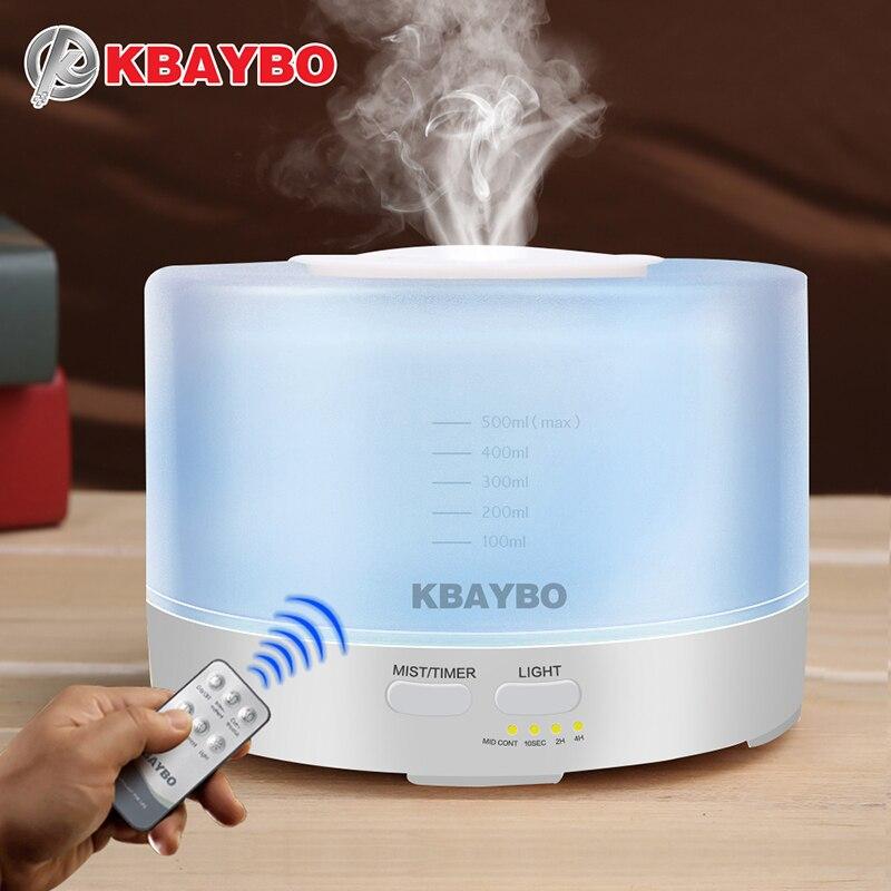 500 ml Controle Remoto Umidificador Aromaterapia Aroma do Óleo Essencial Difusor Com 7 Cor Luzes LED
