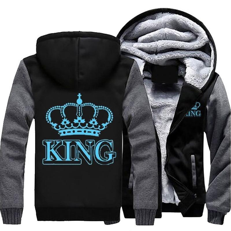 Дропшиппинг Королева Король световой светящиеся печатных зима флис утолщаются Для мужчин; куртка с капюшоном пальто свитшоты на молнии уни...