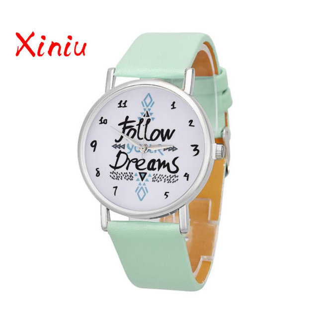 Women Causal Watches Female Ladies Follow Your Dreams Printed Pu Leather Watch Quartz Wristwatch Relogio Feminino reloj mujer