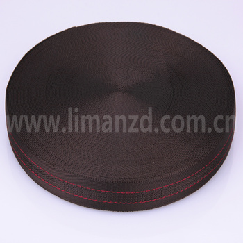 webbing sling 2.5cm  3.8cm  in stock hot sale  coffee color with 2 red line