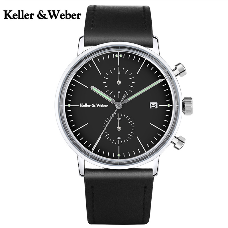 Keller & Weber Classic Men Stop Watch Functional Sub Dials Auto Calendar Black Genuine Leather Strap Male Sport Wristwatch Clock luise keller luise keller ожерелье 133319