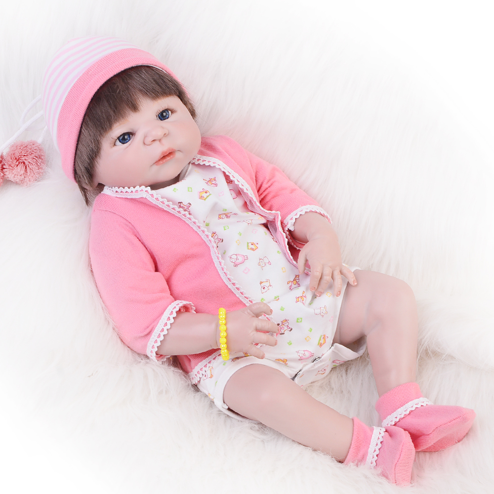 New Arrival 23 Inch Realistic Reborn Doll Full Silicone Vinyl Newborn Doll Girl Babies Lifelike Reborn Boneca Kids Birthday Gift 16 inch silicone reborn babies reborn doll cute full silicone baby doll for children girl birthday gift