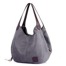 Kadın Kanvas Çanta Yüksek Kaliteli Kadın Hobos Tek omuz çantaları Vintage Katı Çok cep Bayanlar Tote Bolsa feminina