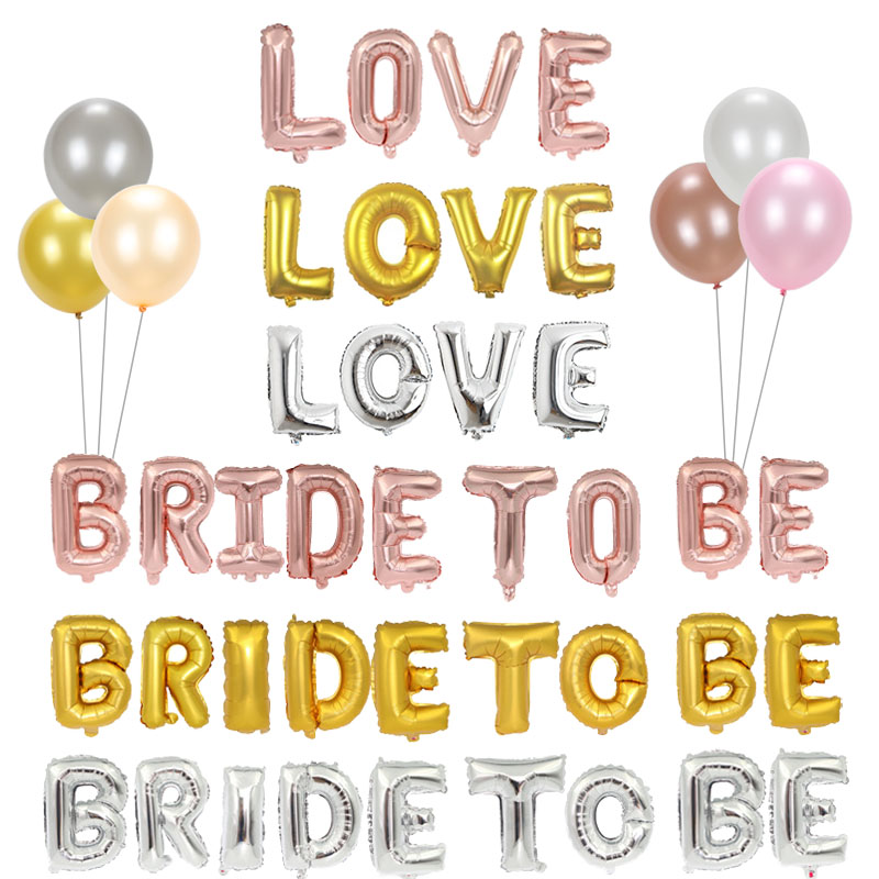 16 32 40 Inch Gold Silver Rose Gold Bride To Be Love XOXO Team Bride Letter Balloons Alphabet Wedding Balloon Wedding Decoration