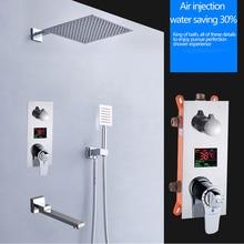 Бакала квадратная Хромированная душевая головка кран ручной душевой опрыскиватель смеситель для ванной Душевой кран Набор термостатический душевой кран